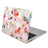 GMYLE Rubber Coated Frosted Hard Shell Case Cover Print for MacBook Air 13 inch (Model: A1369 & A1466) - Vintage Flower Pattern