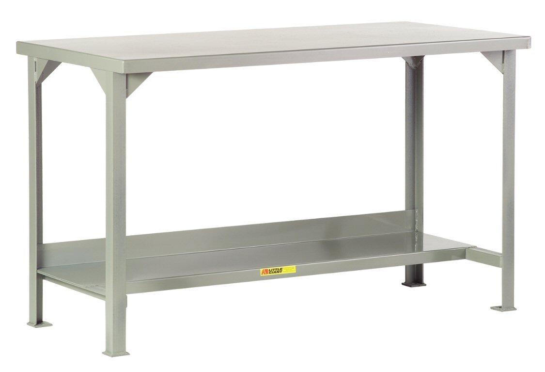 48 x 24 1 Half-Shelf Load Capacity Gray Little Giant WST2-2448-AH Welded Steel Workbench 5000 lb 27 to 41 Adjustable Height