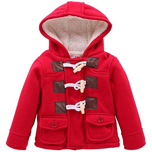 LZH Boys Girls Winter Coat Fleece Jacket with Hooded for Baby Toddler -