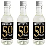 Adult 50th Birthday - Gold - Mini Wine and Champagne Bottle Label Stickers - Birthday Party Favor Gift for Women and Men - Set of 16