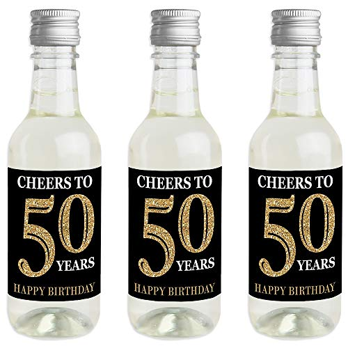 Adult 50th Birthday - Gold - Mini Wine