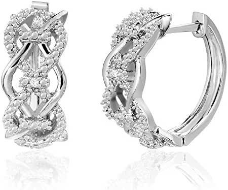 Lumineux Diamond Womens 18K White or Yellow Gold Plated Brass Diamond Accent Crossover Infinity Hoop Earrings