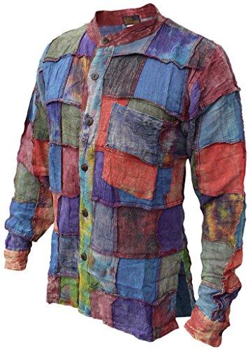 Little Kathmandu Herren Baumwolle Stonewashed Tie Dye Patchwork Hemd
