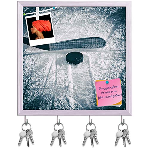 (Artzfolio Hockey Stick & Puck Key Holder Hooks | Notice Pin Board | White Frame 20 X 20Inch)
