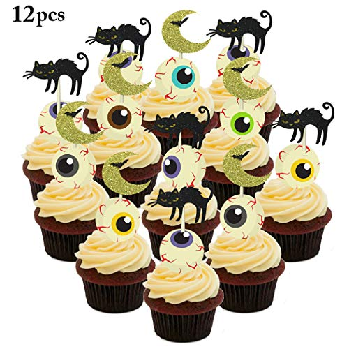 FunPa Cat Cupcake Toppers, 12PCS Halloween Cupcake Toppers Cat Moon Cupcake Pick for Party -