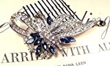 Sapphire Blue Crystal Wedding Hair Comb, Navy & Clear Rhinestone Bridal Hairpiece, Great Gatsby Art Deco Silver 1920s Accessory Something Blue Headpiece