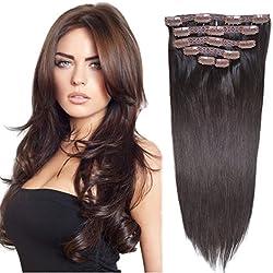 "16"" Clip in Hair Extensions Real Human Hair Dark Brown(#2) 6pieces 70grams/2.45oz"