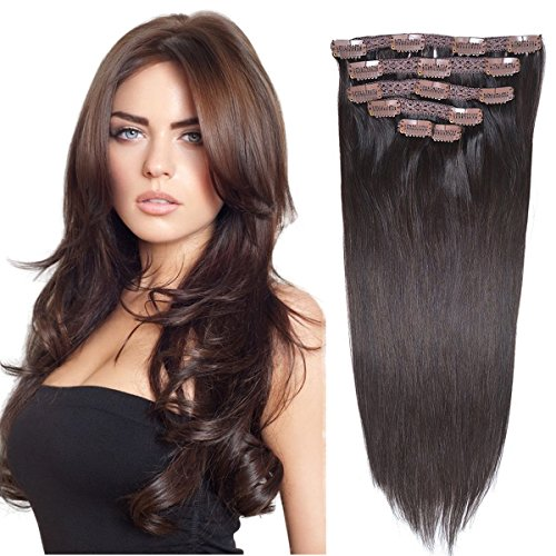 "16""Clip in Hair Extensions Real Human Hair Double Weft Thick to Ends Dark Brown(#2) 6pieces 70grams/2.45oz"