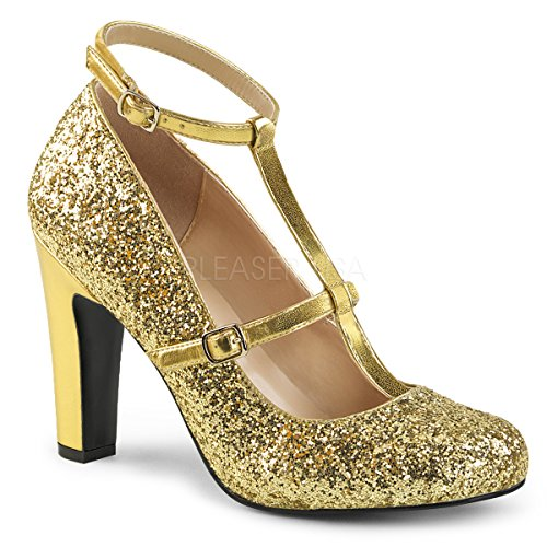 Pleaser Womens Queen01 / Gpu-gg Dress Pump Gold Met. Pu-glitter
