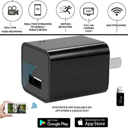 Wireless Wifi Hidden Spy Charger Camera Motion Detection Activated Support IPhone , IOS and Android APP Remote Livestreaming Video viewing  With 8GB SD Card Included For Home Security By - That Sunglasses Take Pictures
