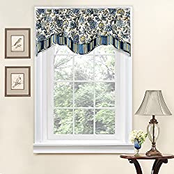 Traditions By Waverly 14312052016POR Navarra Floral 52-Inch by 16-Inch Window Valance, Porcelain