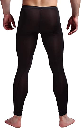 inhzoy Mens Soft Ice Silk Transparent Sheer Thermal Underwear Legging Pants Bulge Pouch Tights