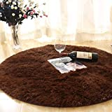 Bedroom Living Room Carpet Non Slip Washable Children's Crawling Blanket Round Plush Chair Mat (Color : Coffee, Size : 140cm)