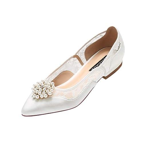 65ba88649ce ERIJUNOR E2419 Lace Wedding Shoes Flats Ivory Satin Pointy Toe Comfortable  Low Heel Ivory Size 6