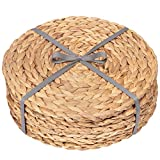 Dehaus 6 x ROUND Water Hyacinth PLACEMATS 30cm (12 inch) | Luxury Quality Woven Wicker Table Place Mats (Set of Six)