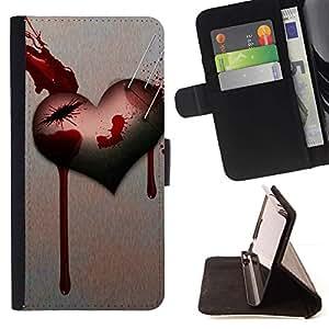 For HTC One Mini 2 M8 MINI Case , Corazón del amor de Goth- la tarjeta de Crédito Slots PU Funda de cuero Monedero caso cubierta de piel