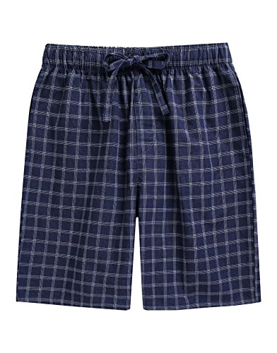 (TINFL Boys Soft Cotton Plaid Check Sleep Lounge Shorts BSP-SB012-Navy L )