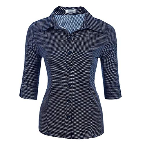 Donna Eleganti Sottile Camicia Camicetta Mezze Ufficio Punto Navy Tops d'onda Moda Dooxii Maniche Blu Casuale 5dnfRwdZx