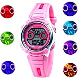 Waterproof Swimming Sports 7-Color Flashing Light Watch for Boys, Girls, Childrens Kids Watches Ages...