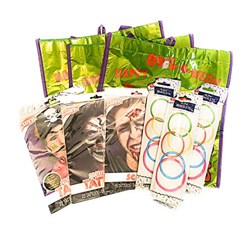 Happy Halloween Trick or Treat Gear Bag Scar, Pirate and Skeleton Face Tattoos and Glow Braclets for 3 -