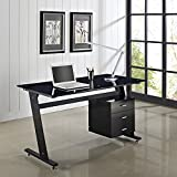 Unmatchable Computer Desk PC Table Work Station Glass Top and Sides Drawers (Black)