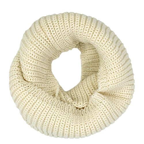 Tapp C. Thick Knitted Warm Infinity Scarf - Ivory