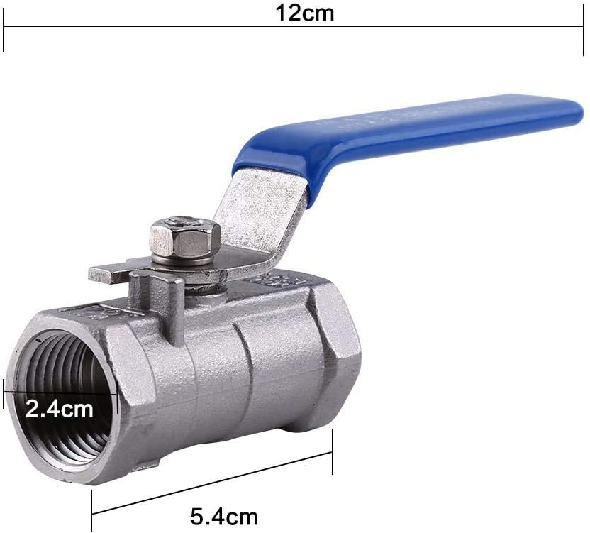 Midline Valve for Water for Home use Female Pipe Fittings 1//2 Inch Threaded Small Fluid Resistance Stainless Steel Valve Heavy Duty Ball Valve Plyisty Ball Valve