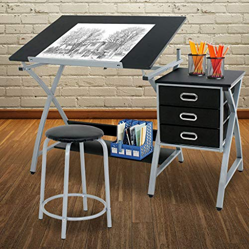 Table Draw Desk Board Adjustable Workstation Strong Durable with Stool Storage Art Artist Architect Decorate Your - Mdf Oak Desk
