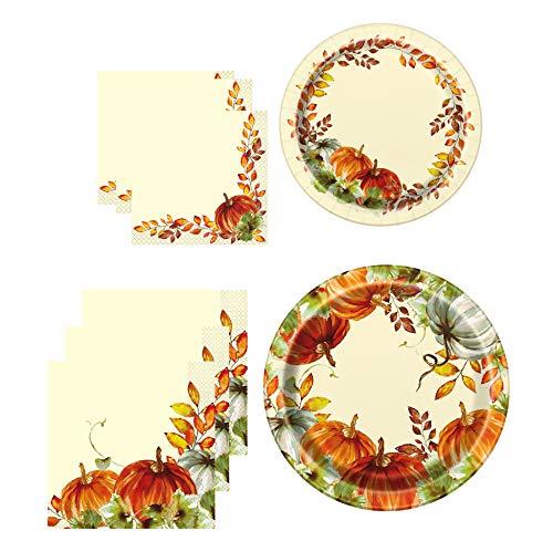 Unique Watercolor Fall Pumpkins Tableware Essentials | Banquet & Dessert Plates, Luncheon & Beverage Napkins | Autumn, Fall, Thanksgiving Table Decorations -