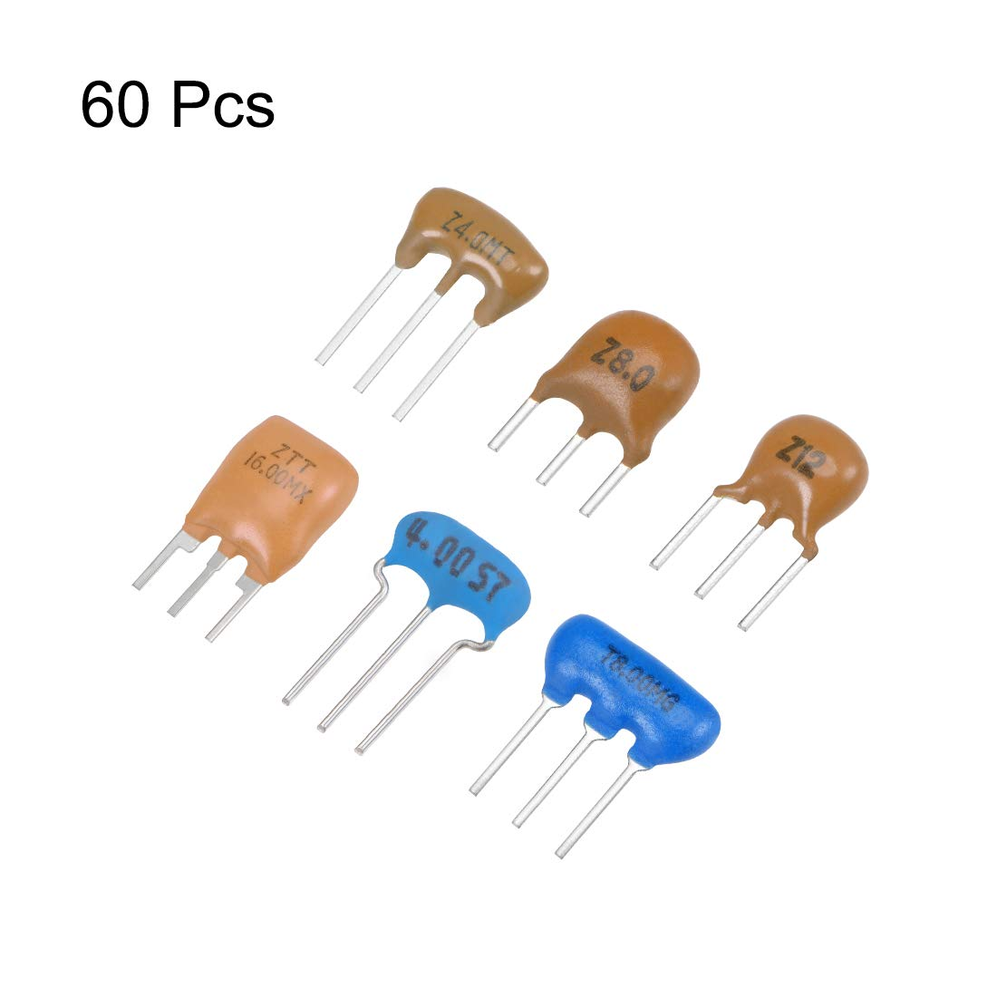 uxcell Ceramic Resonator Oscillator Assortment 4MHz 8MHz 12MHz 16MHz DIP 6in1 60pcs