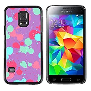 LECELL--Funda protectora / Cubierta / Piel For Samsung Galaxy S5 Mini, SM-G800, NOT S5 REGULAR! -- Teal Pink Purple Paint Pattern --