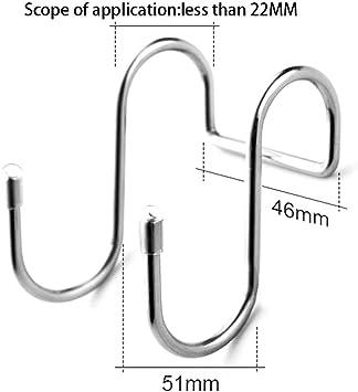 Edelstahl f/ür Zuhause silber Handt/ücher 8 St/ück TonGXU Doppelhaken in S-Form S-Typ B/üro Kleidung doppelt robust Badezimmer