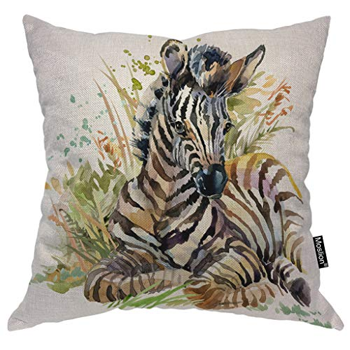 - Moslion Zebra Pillows Wild Animal Watercolor Black White Striped Zebras with Grass Leaf Throw Pillow Cover Decorative Pillow Case Square Cushion Accent Cotton Linen Home 18x18 Inch