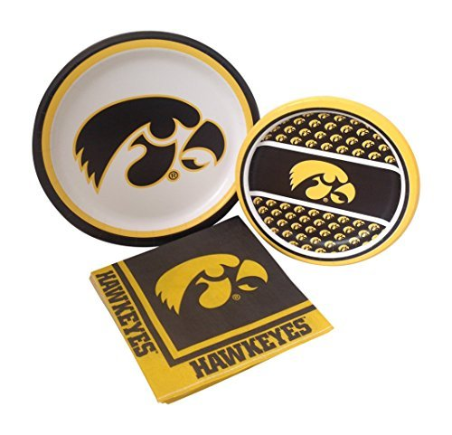 University Of Iowa Party (University of Iowa Hawkeyes Party Supply Pack! Bundle Includes Paper Plates & Napkins for 8)
