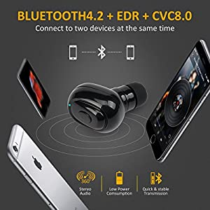IOUIOU Truly Wireless Earbuds with Charging Case Microphone Bluetooth 4.2 Stereo Noise Canceling Waterproof, Fit iPhone/Android Phones/Tablet/Laptop/PC Wireless Bluetooth Headphones Earbuds