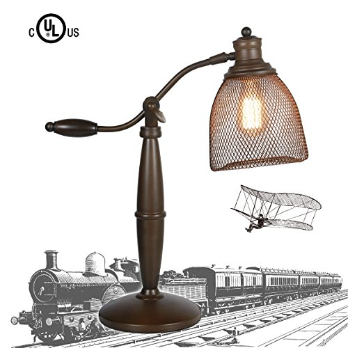 MY CANARY Vintage Wrought Iron Birdcage Table Lamps, Art Iron Wire Cage Desk Light, can Adjust Swing Arm Lamp Lighting Fixtures (Arm Vintage Swing)