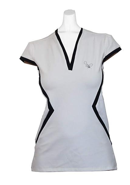 La Mouche Padel Camiseta de Mujer Manga Corta Blanca/Marino ...