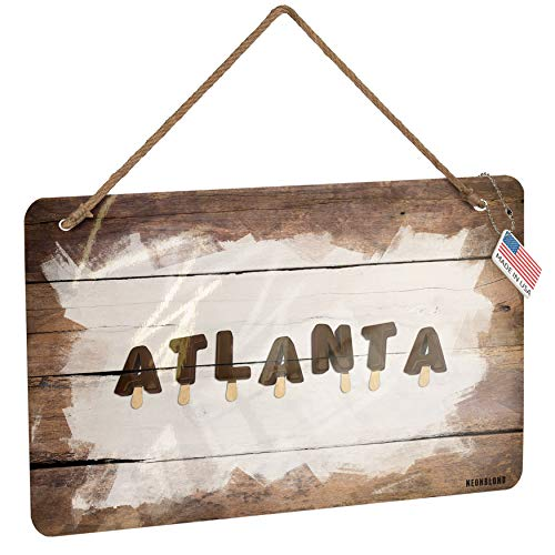 NEONBLOND Metal Sign Atlanta Ice Cream Popsicle Christmas Wood Print