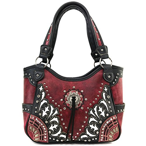 Justin West Tooled Leather Laser Cut Rhinestone Concho Studded Shoulder Concealed Carry Tote Style Handbag Purse Wallet (Red Handbag)