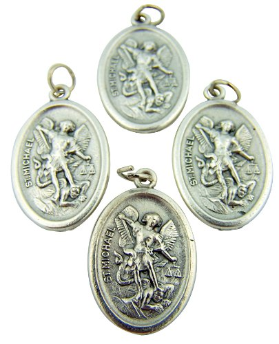 - Religious Gifts Lot of 4 Silver Tone Archangel Saint Michael with Angel Back Medal