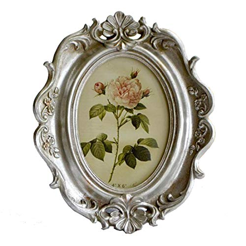 - CISOO Vintage Oval Picture Frame 4x6 Antique Photo Frame Table Top Display and Wall Hanging Home Decor (Silver)