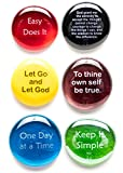 Recovery Stones, 6 Daily Reminders for Encouragement in Sobriety on Glass Stones. Perfect for 12 Step Anniversary Markers. By Lifeforce Glass. Set I.