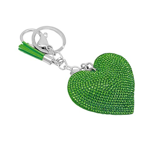 Romantic Dazzling Rhinestone Love Heart Charm Pendant Fringe Keychain Keyring - Green Ameesi ()