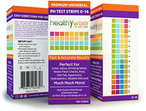 pH Test Strips 0-14, Universal Strips To Test Water Quality For Swimming Pools, Hot Tub, Hydroponics, Aquarium, Kombucha, Household Drinking Water, Soil, Urine & Saliva, Alkaline & Diabetic Diet 100ct by HealthyWiser (Image #3)