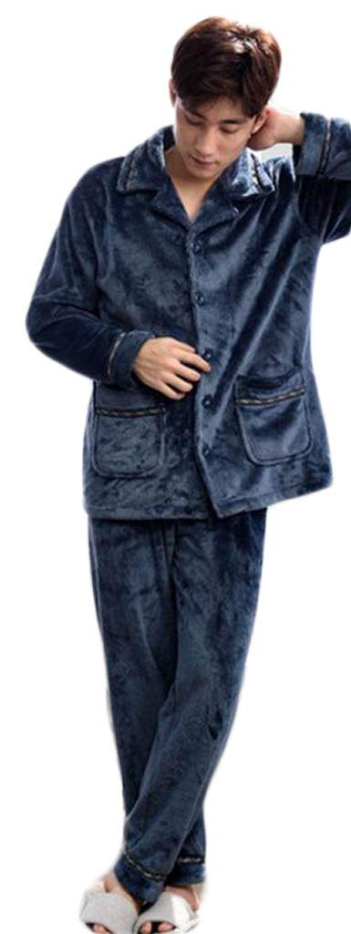Coral Cashmere Men's Pajamas, Autumn and Winter Thick Warm Home Clothing (Color : Blue, Size : M) DAFREW factory
