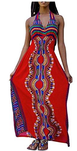 Women's Party Maxi African Jaycargogo Dress Printed Dashiki Long 1 Sleeveless Halter 8qqPU0d