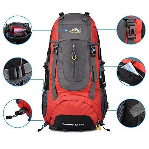 X-Freedom Men & Women Waterproof 65L Outdoor Sport Hiking Backpack Camping Travelling Climbing Knapsack Big Capacity Fishing Cycling Bag (Red)