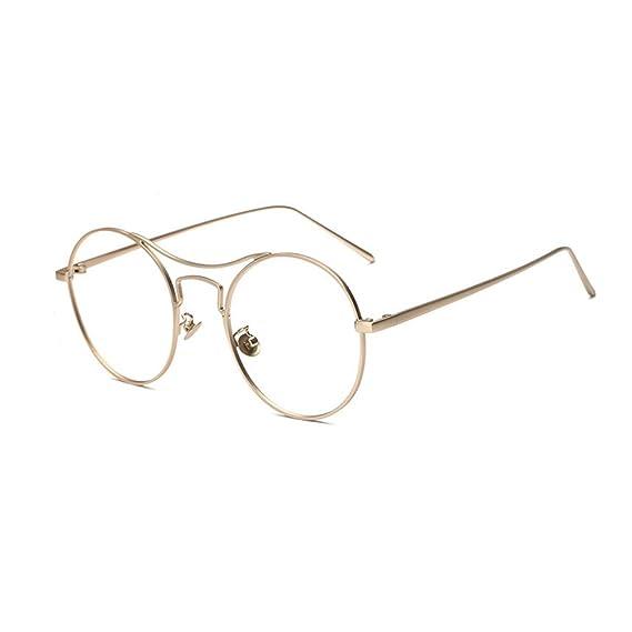Rotondo Montatura Occhiali in Metallo Occhiali da Vista, Alxcio Retrò Aviatore Occhiali Decorazione con Lenti Trasparenti Per Unisex Uomo Donna, Oro