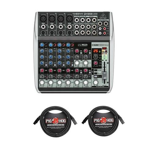 Behringer Xenyx QX1202USB Premium 12-Input 2-Bus Mixer with Xenyx Mic Preamps and Compressors, British EQs, 24-Bit Multi-FX Processor and USB/Audio Interface - With 2 Pack 15' 8mm XLR Microphone Cable