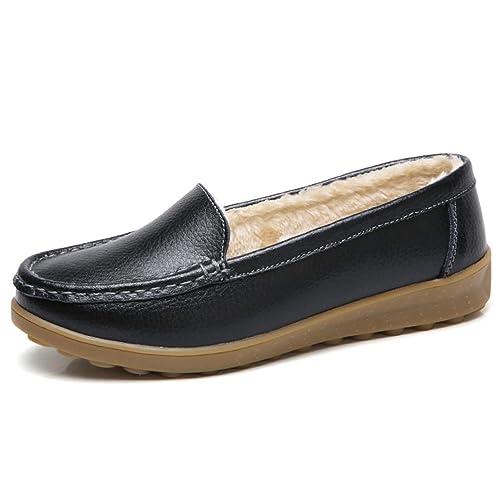Mujeres Pisos Mocasines Zapatos Casuales Mocasines De Felpa Sin Cordones Coser Invierno Damas Femeninas Tacones Bajos Calzado: Amazon.es: Zapatos y ...